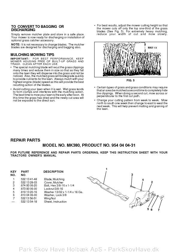 husqvarna mulch kit instructions