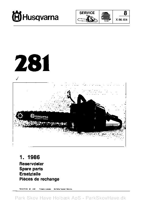 Reservedel Husqvarna 281, 1986-01, Chain Saw  side 1