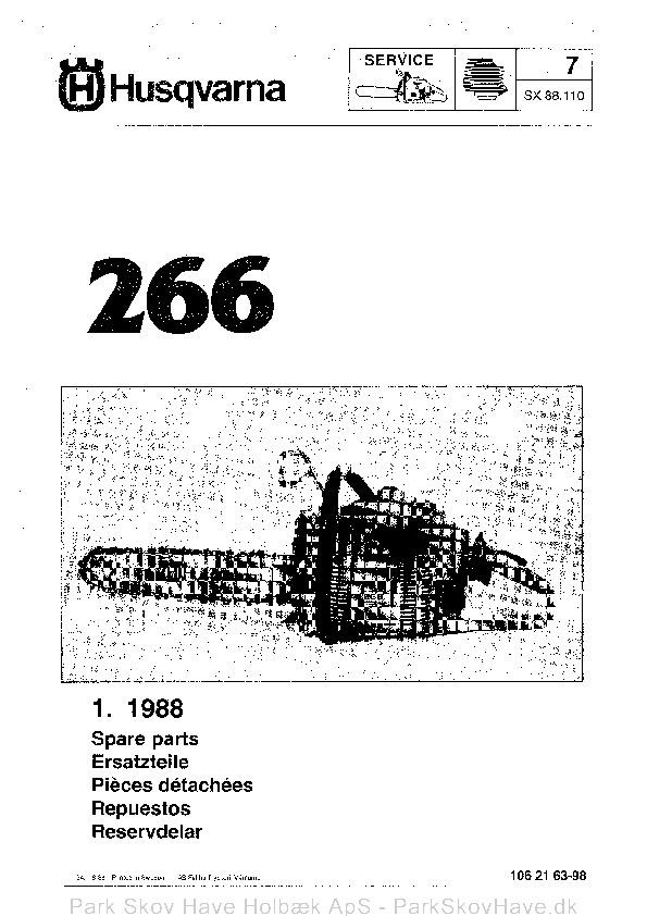 Reservedel Husqvarna 266, 1988-06, Chain Saw  side 1