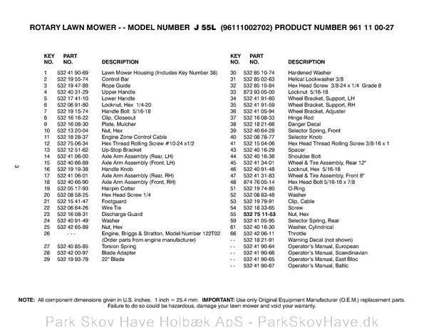 Reservedel Husqvarna J55 L, 96111002702, 2009-09, Lawn Mower  side 3