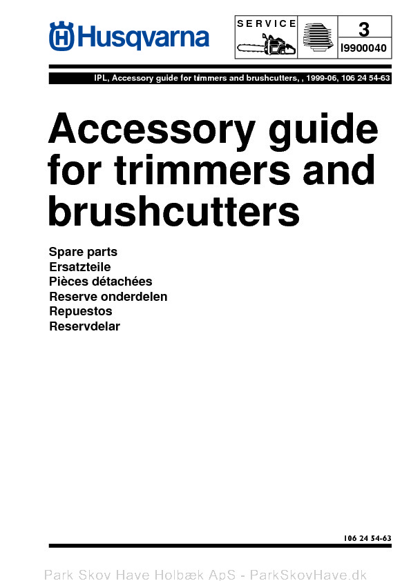 Reservedel Husqvarna Accessory Guide for Trimmers and Brush Cutters, 1999-06, Accessories  side 1