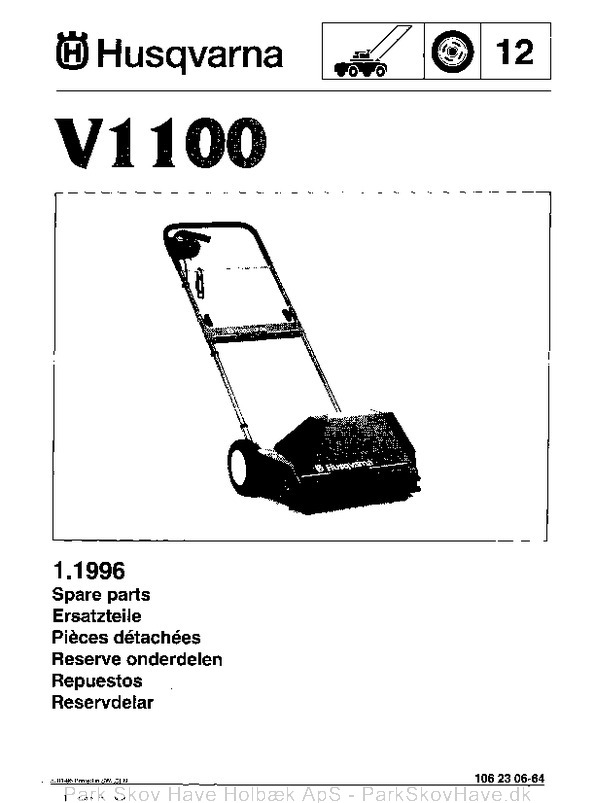 Reservedel Husqvarna V1100, 1996-01, Scarifier  side 1