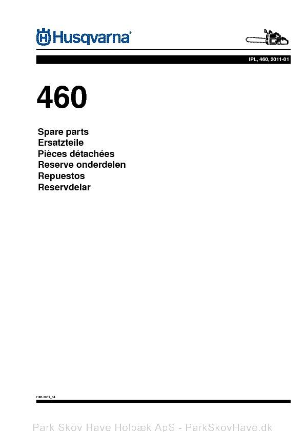 Reservedel Husqvarna 455,460_A2  side 1