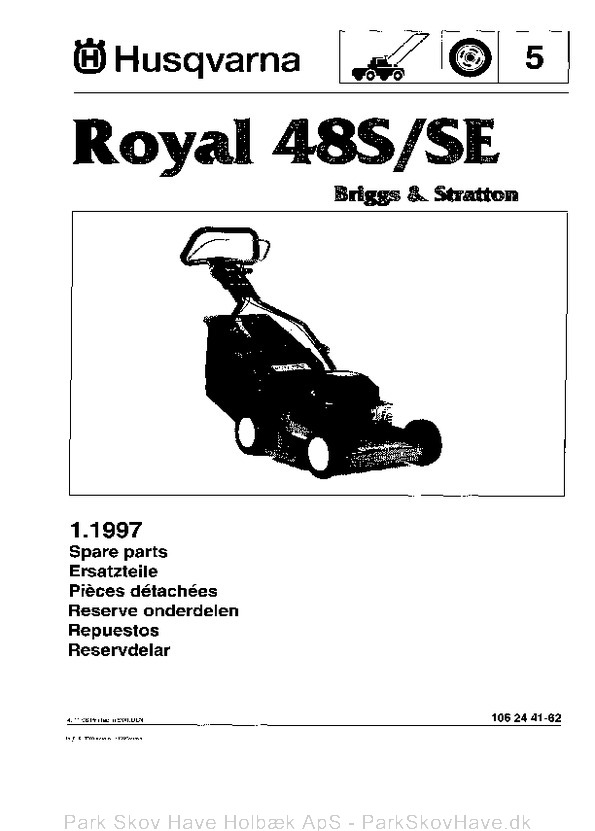 Reservedel Husqvarna Royal 48 S, 48 SE, 1996-11, Lawn Mower  side 1