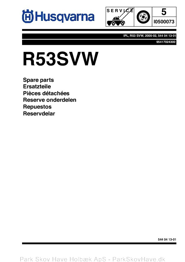 Reservedel Husqvarna R53 SVW, 95417024300, 2005-02, Lawn Mower  side 1