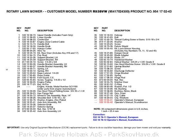 Reservedel Husqvarna R53 SVW, 95417024300, 2005-02, Lawn Mower  side 3