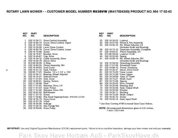 Reservedel Husqvarna R53 SVW, 95417024300, 2005-02, Lawn Mower  side 5