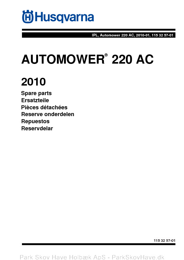 Reservedel Husqvarna Automower 220 AC 2010, 2010-01  side 1