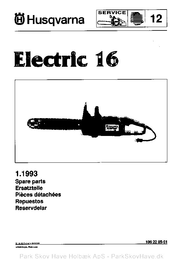Reservedel Husqvarna Electric 16, 1993-05, Chain Saw  side 1