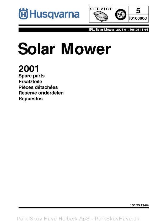 Reservedel Husqvarna Solar Mower, 2001-01  side 1