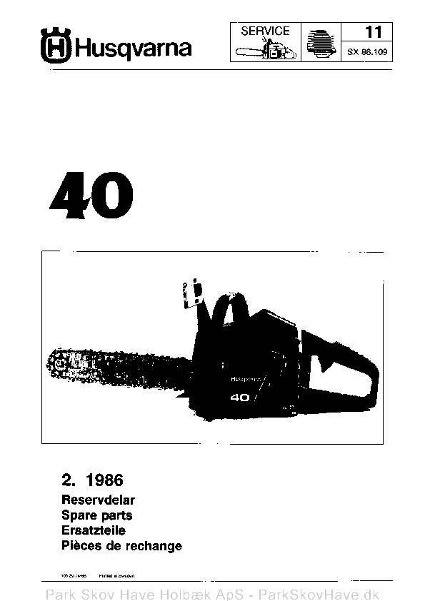 Reservedel Husqvarna 40, 1986-01, Chain Saw  side 1