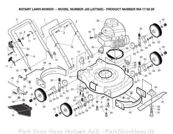 Reservedel Husqvarna J50, JET 50, JET50S, 2004-01, Lawn Mower  side 2