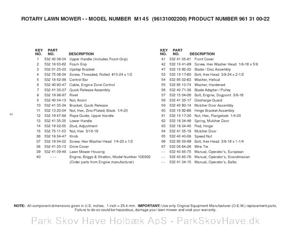 Reservedel Husqvarna M145, 96131002200, 2007-03, Lawn Mower  side 3