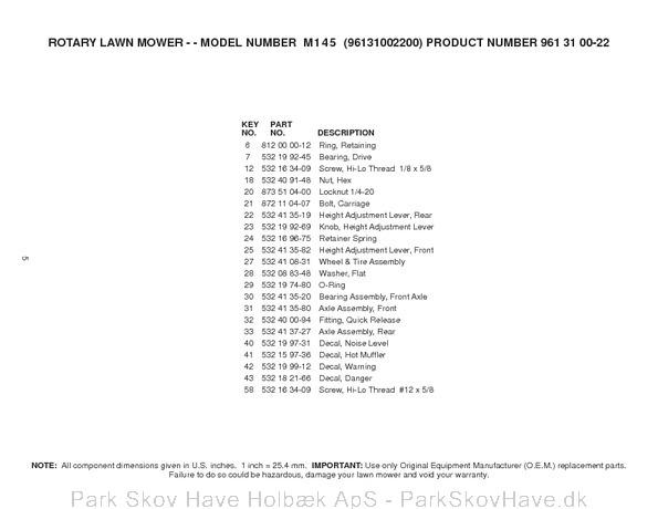 Reservedel Husqvarna M145, 96131002200, 2007-03, Lawn Mower  side 5