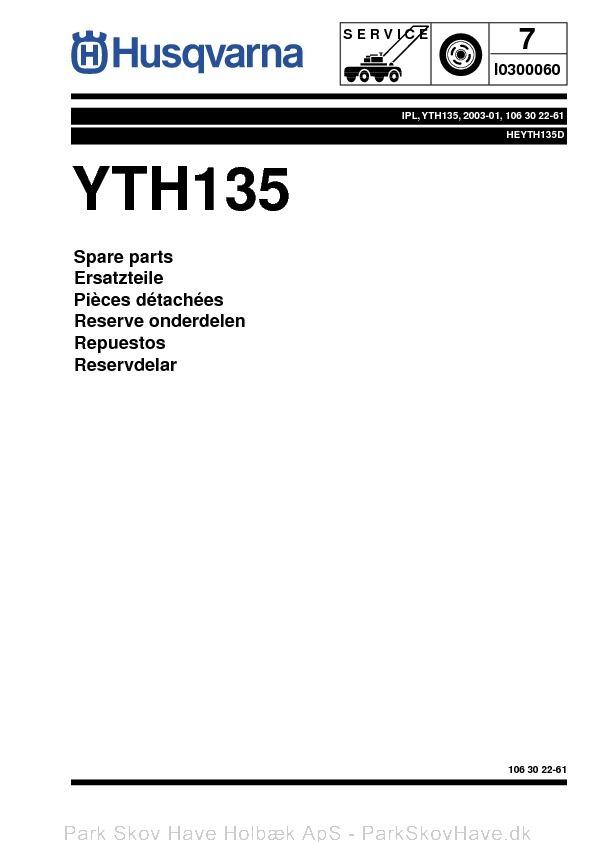 Reservedel Husqvarna YTH135, HEYTH135D, 2003-01, Tractor  side 1