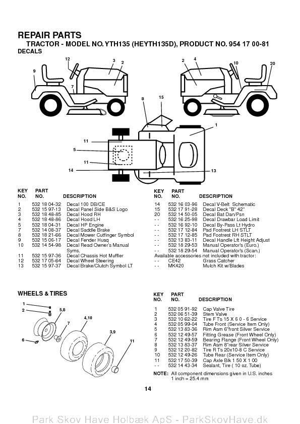 Reservedel Husqvarna YTH135, HEYTH135D, 2003-01, Tractor  side 14
