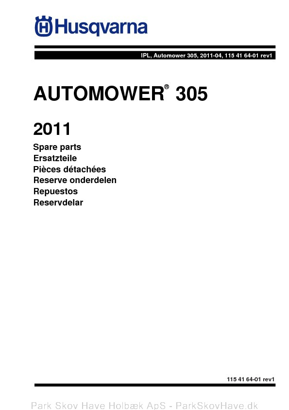 Reservedel Husqvarna Automower 305, 2011-04, rev1  side 1