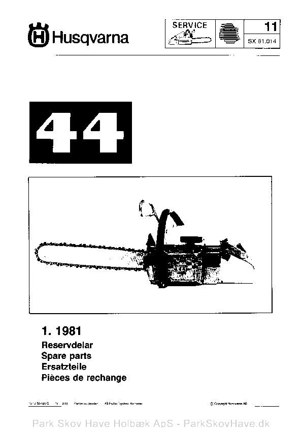 Reservedel Husqvarna 44, 1981-02, Chain Saw  side 1