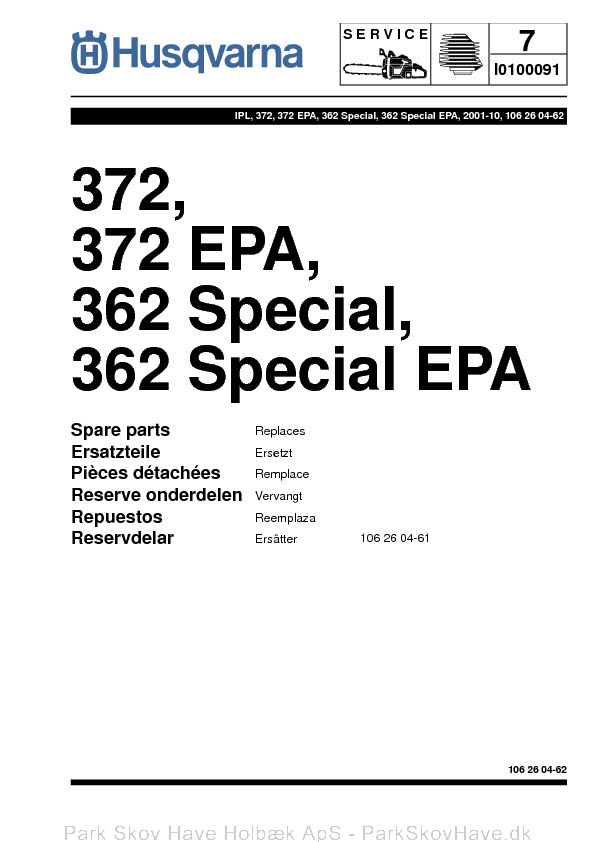 Reservedel Husqvarna 372, 372 EPA, 362 Special, 362 Special EPA, 2001-10, Chain Saw  side 1