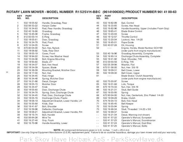 Reservedel Husqvarna R152 SVH-BBC, 96141006302, 2008-02, Lawn Mower  side 3