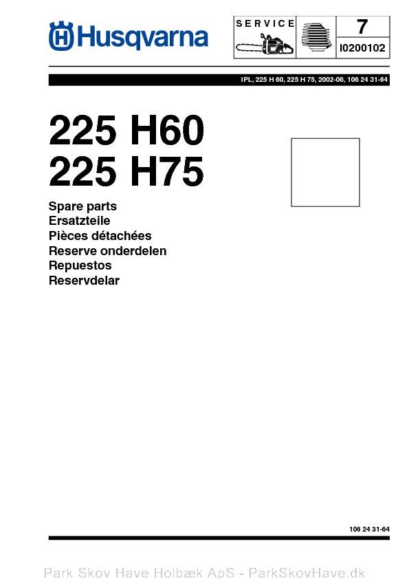 Reservedel Husqvarna 225 H60, 225 H75, 2002-06, Hedge Trimmer  side 1