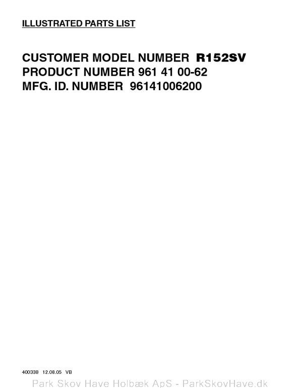 Reservedel Husqvarna R152 SV, 96141006200, 2006-01, Lawn Mower  side 2