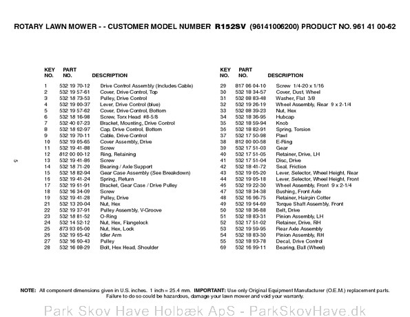 Reservedel Husqvarna R152 SV, 96141006200, 2006-01, Lawn Mower  side 6
