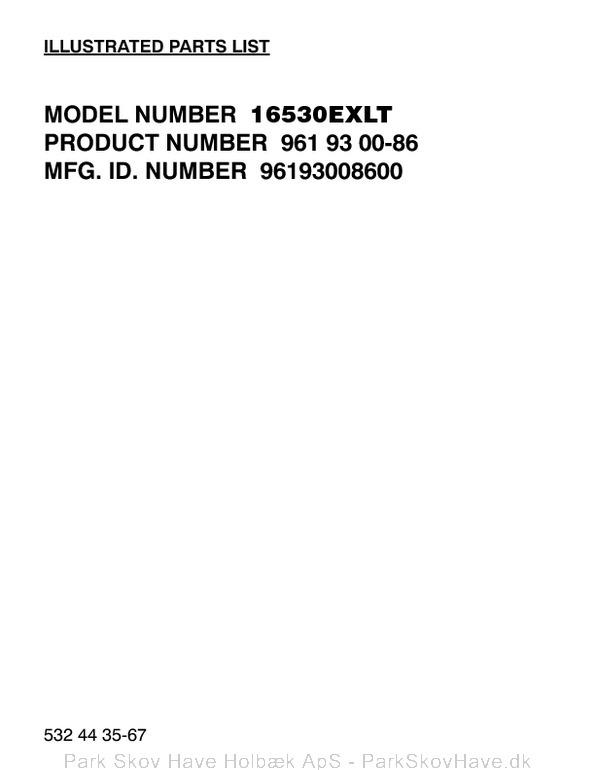 Reservedel Husqvarna 16530EXLT, 2011-08, 532443567, AAaa, 96193008600  side 1