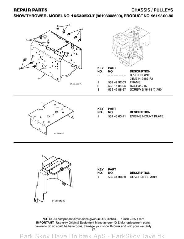 Reservedel Husqvarna 16530EXLT, 2011-08, 532443567, AAaa, 96193008600  side 17